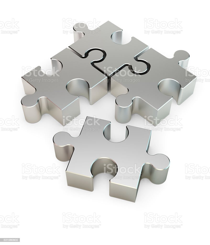 Connecting Metal Jigsaw Puzzle Pieces stock photo