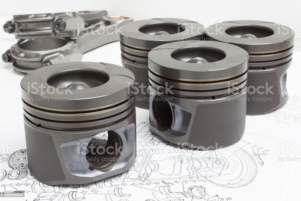 connecting rods and pistons. elements of the crank mechanism stock photo