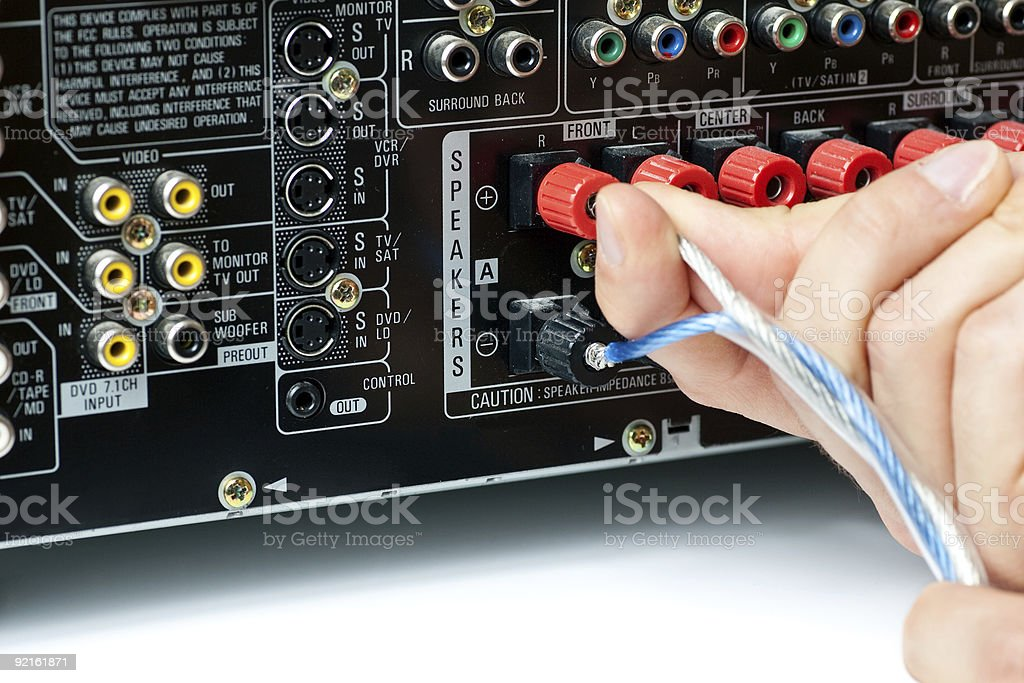 Connecting speaker wire to AV equipment royalty-free stock photo