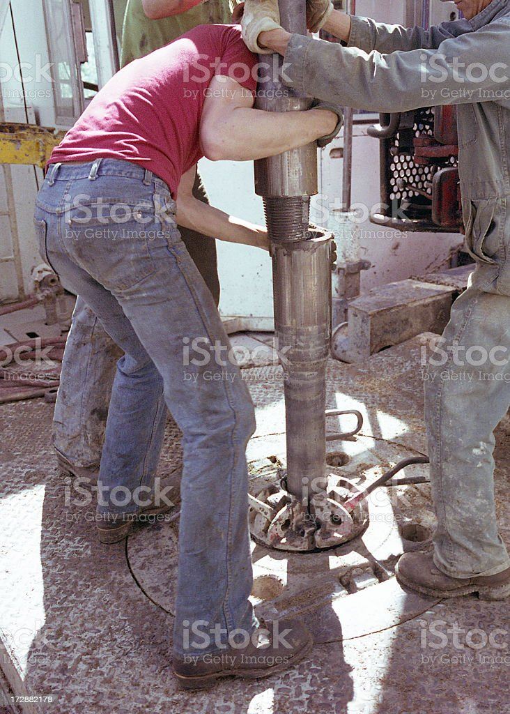 Connecting the Drill Pipe #2 royalty-free stock photo
