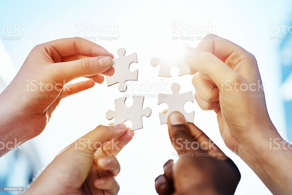 Connecting the pieces stock photo
