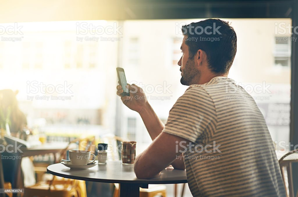 Connecting to the cafe's wifi network stock photo