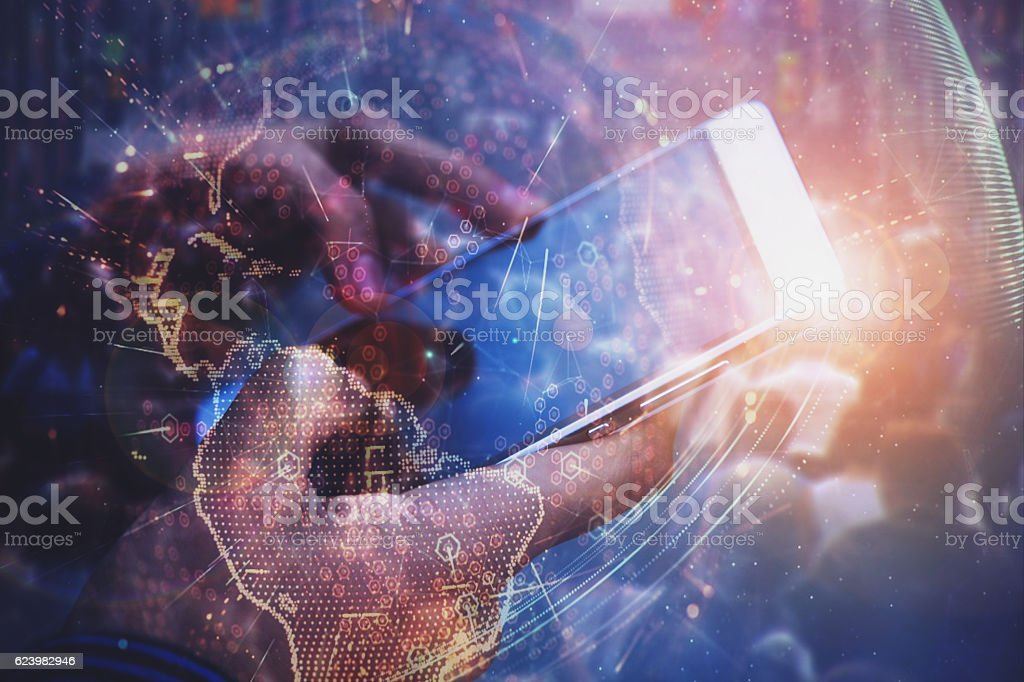 Connecting to the world stock photo
