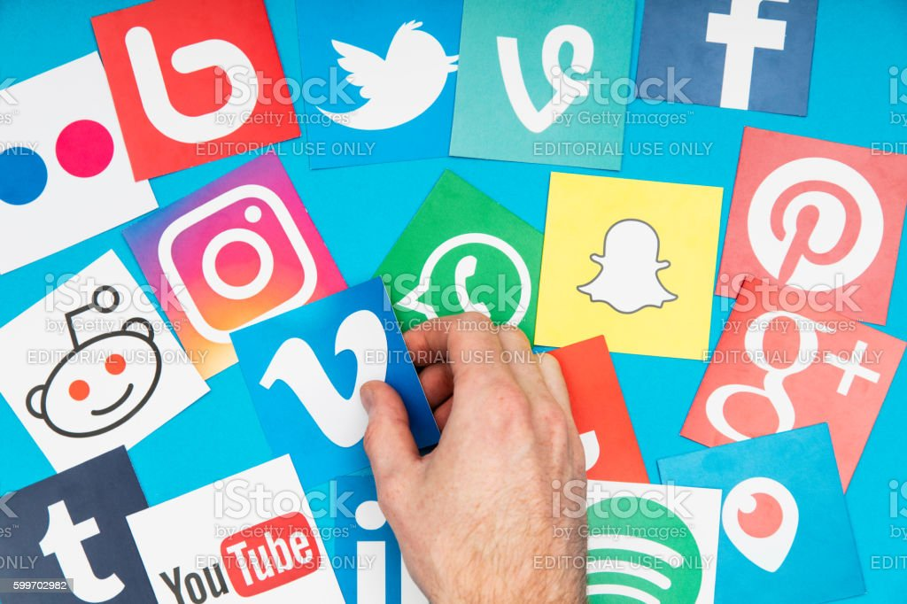 Connecting with social media stock photo