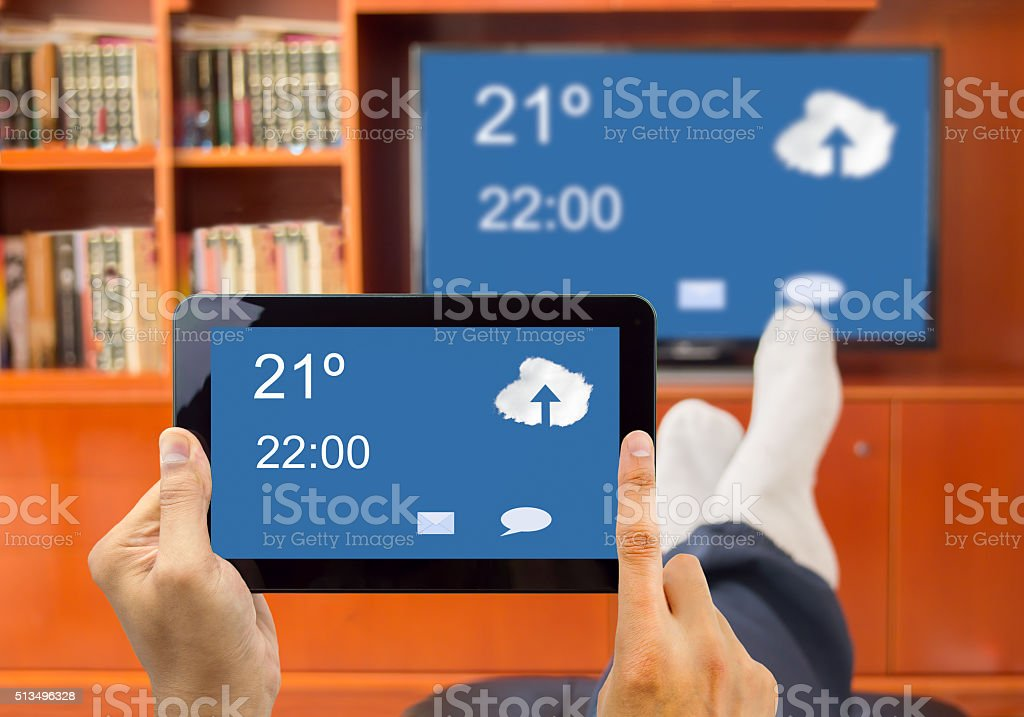 connection between smart tv and smartphone stock photo