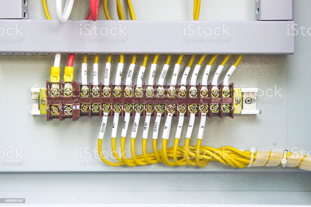 Connection cables in the control cabinet. stock photo