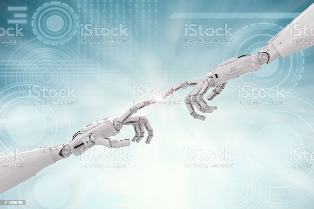 connection concept with robotic hand pointing stock photo