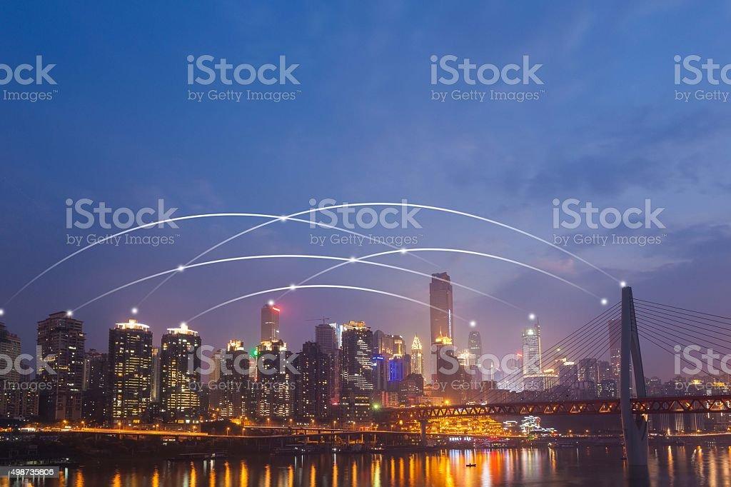 Connection in Chongqing CBD stock photo