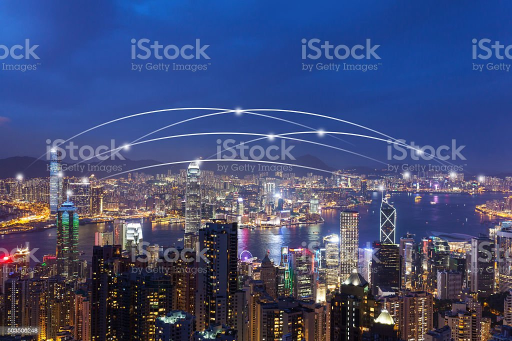 Connection in Hongkong night stock photo