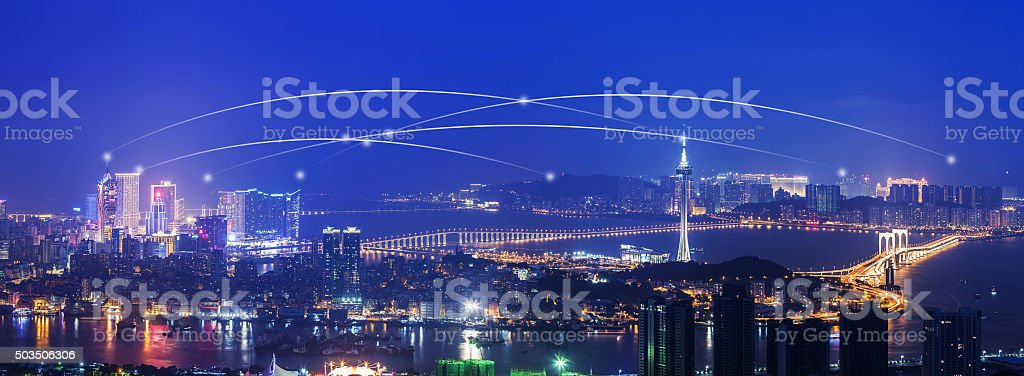 Connection in Macau Panorama Night stock photo