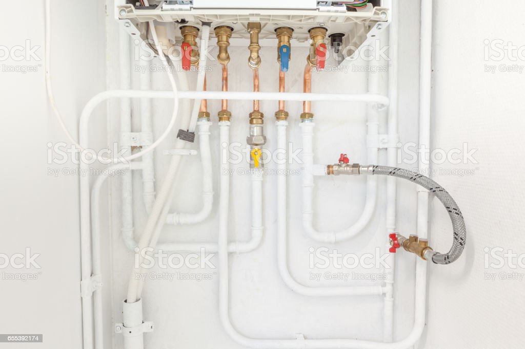 connection of heating and hot water stock photo