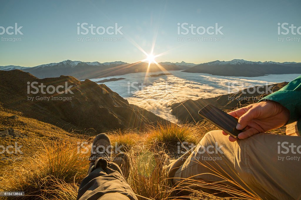 Connection over the clouds stock photo
