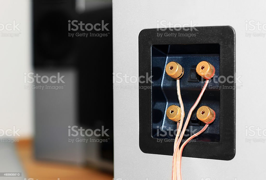 Connection panel with bi-wiring stock photo
