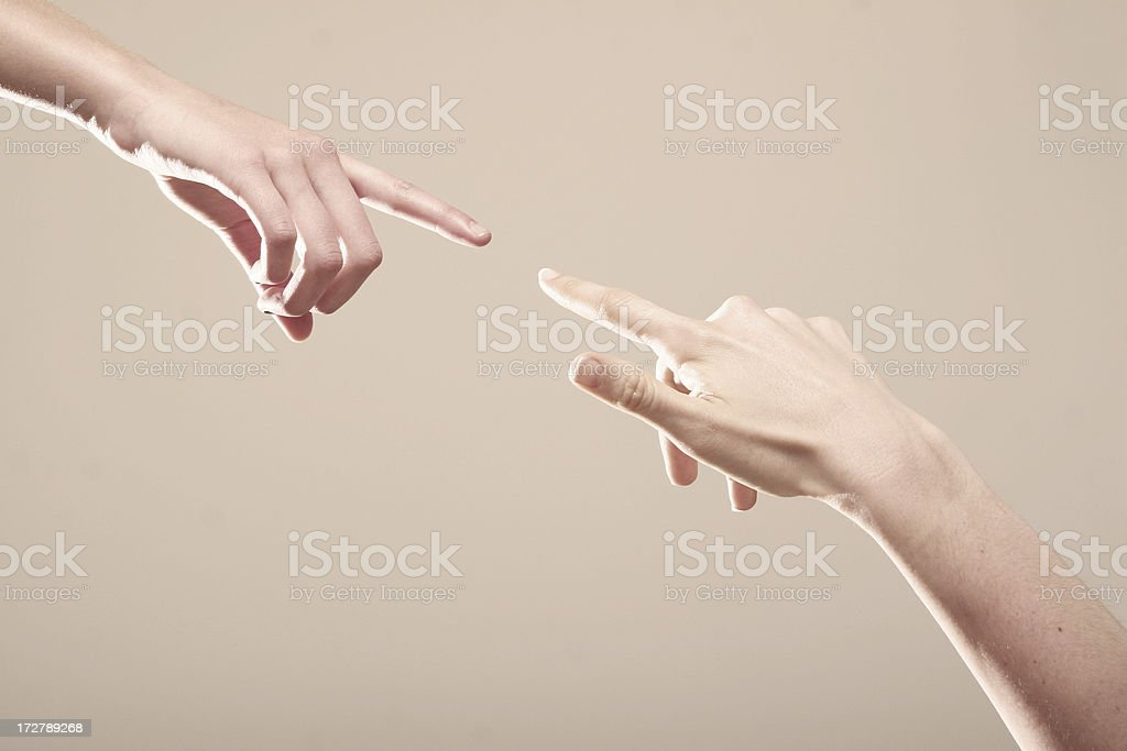 Connection - Two fingers about to Touch stock photo