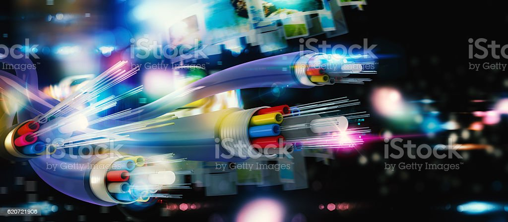 Connection with the optical fiber stock photo