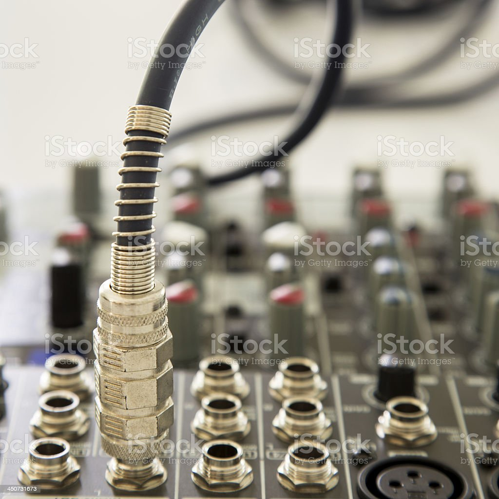 connector is connected to audio mixer royalty-free stock photo