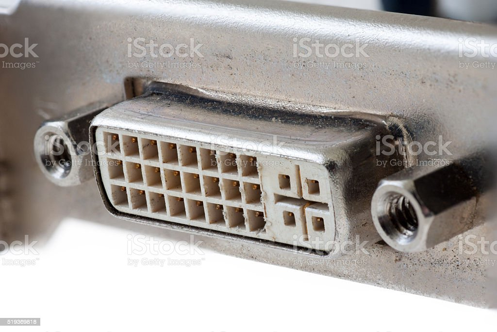 DVI connector isolated on white background stock photo