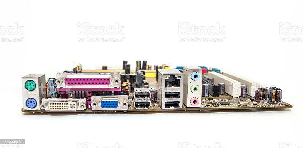 Connector of computer motherboard, back side computer port stock photo