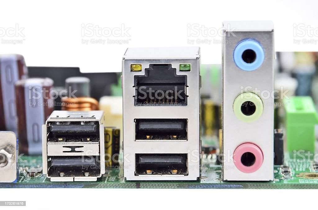 Connector of computer motherboard royalty-free stock photo