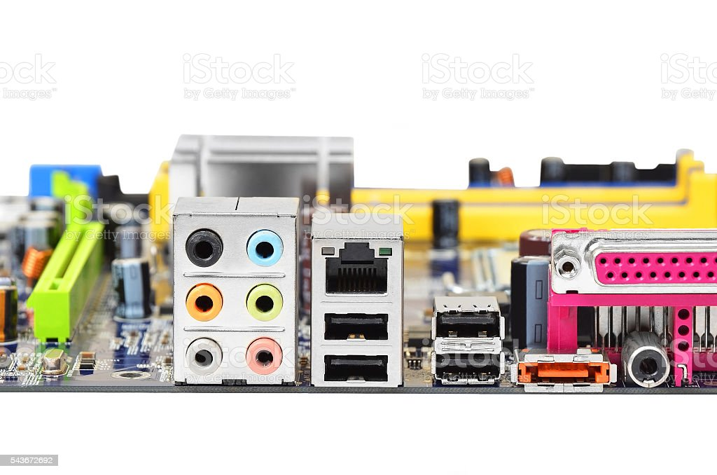 Connector of computer motherboard stock photo
