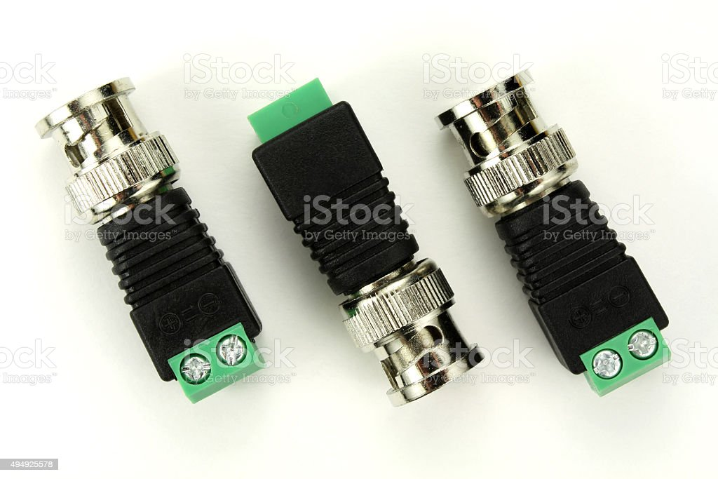 BNC connector on a white background stock photo