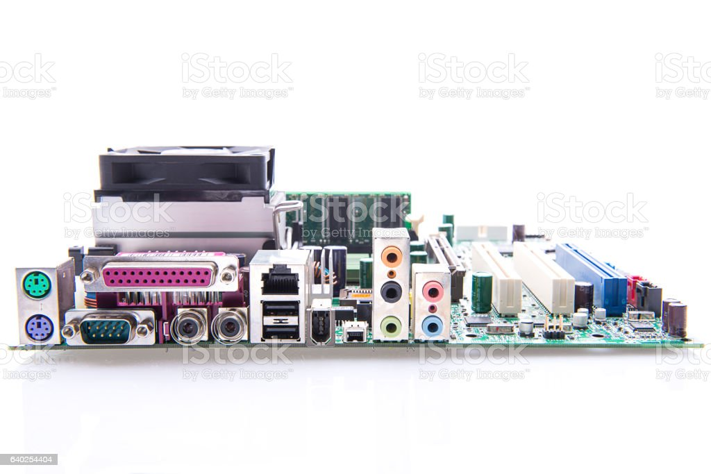 Connectors on the motherboard of a Personal Computer VGA stock photo