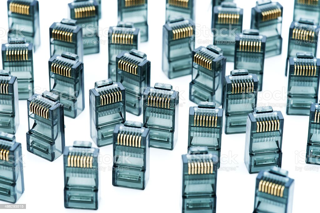 RJ45 connectors on white royalty-free stock photo