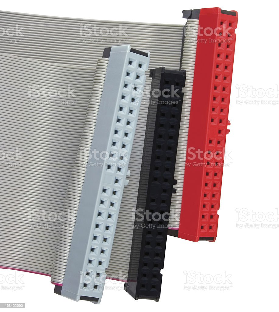 IDE connectors ribbon cables HDD hard drive PC computer isolated stock photo