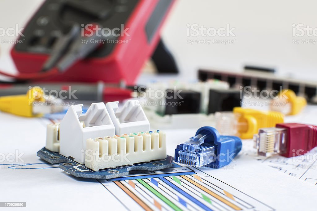 RJ45 connectors wall mountable and movable connectivity stock photo