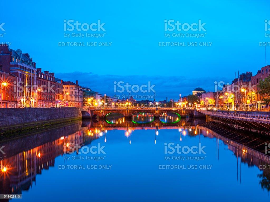 O'Connell Bridge in Dublin, Ireland at night stock photo