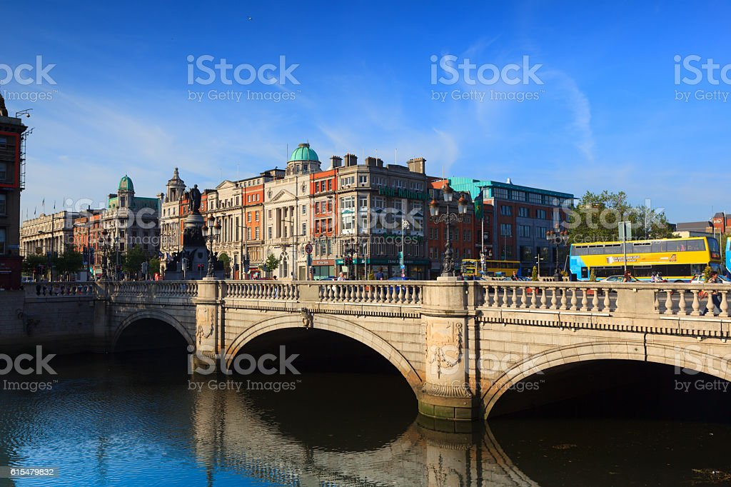 O'Connell bridge in Dublin stock photo