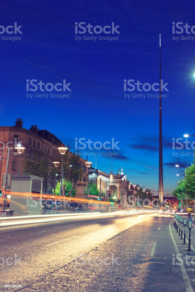 O'Connell street in Dublin by night stock photo
