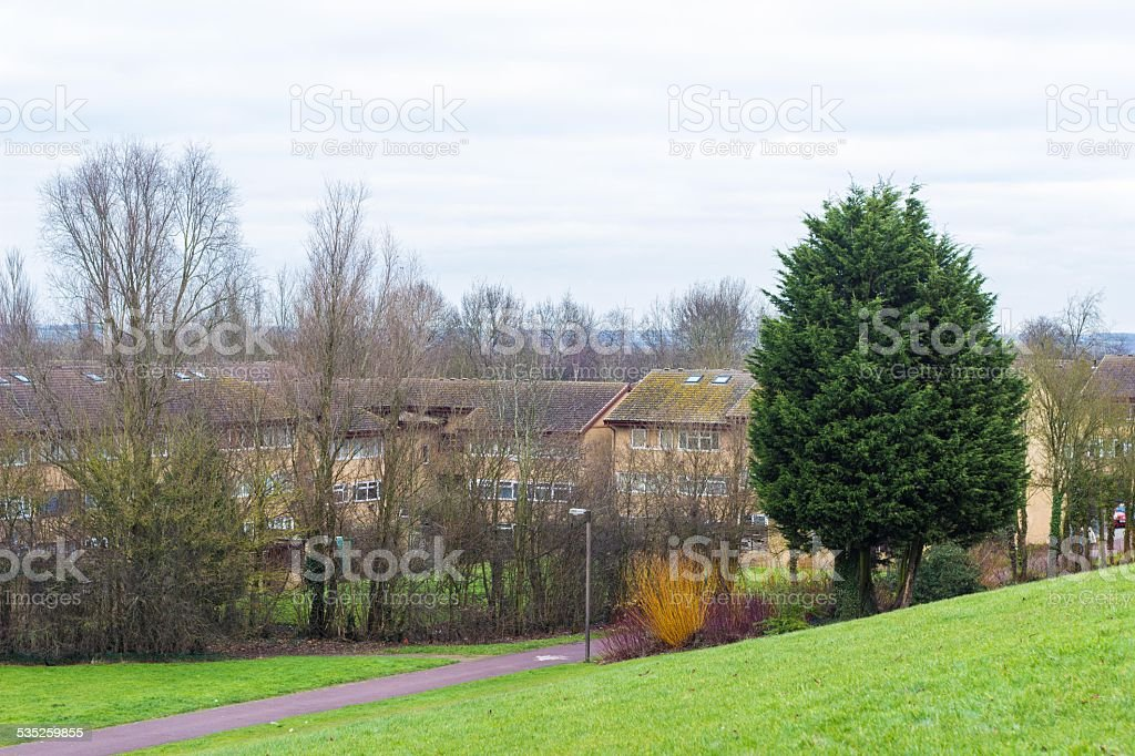Conniburrow neighborhood in Milton Keynes, England, UK stock photo