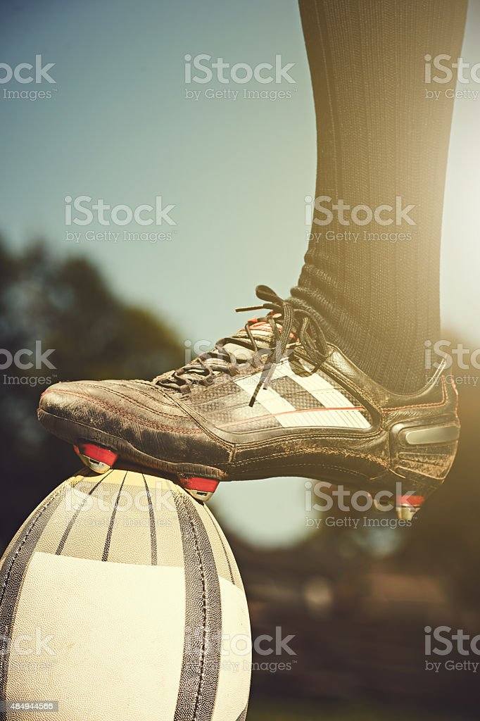 Conquering the world of rugby stock photo
