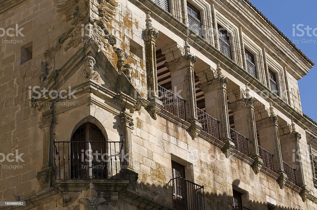 Conquest Palace in Mayor Square of Trujillo. Caceres royalty-free stock photo