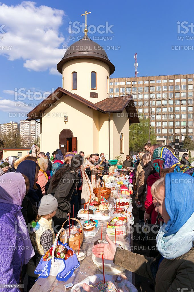 Consecration of Easter cakes and eggs stock photo