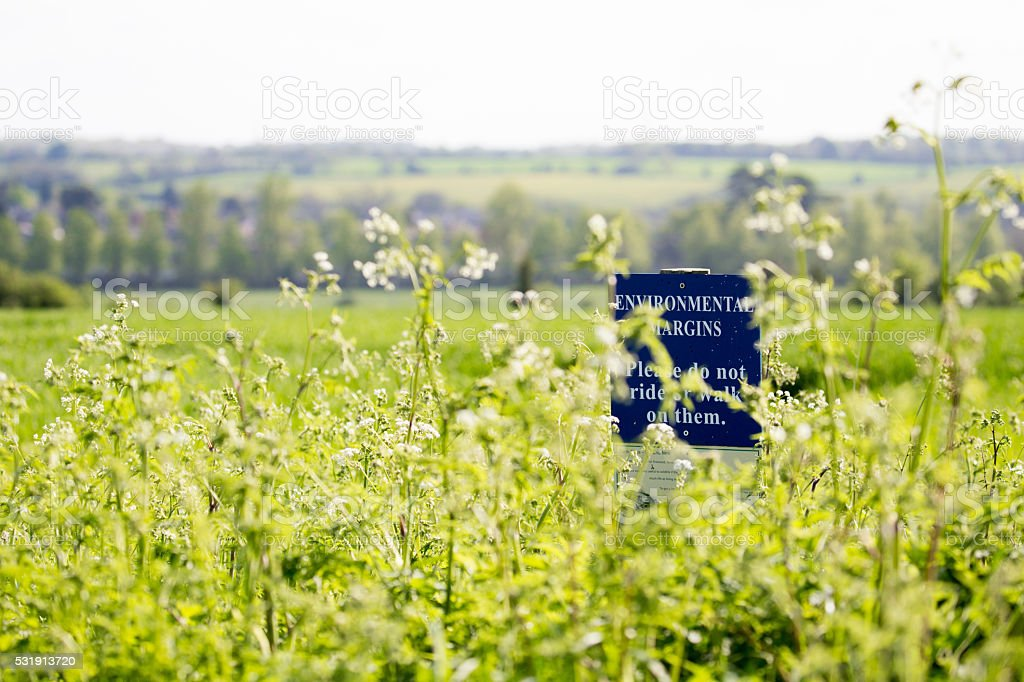 Conservation warning sign in field margins stock photo