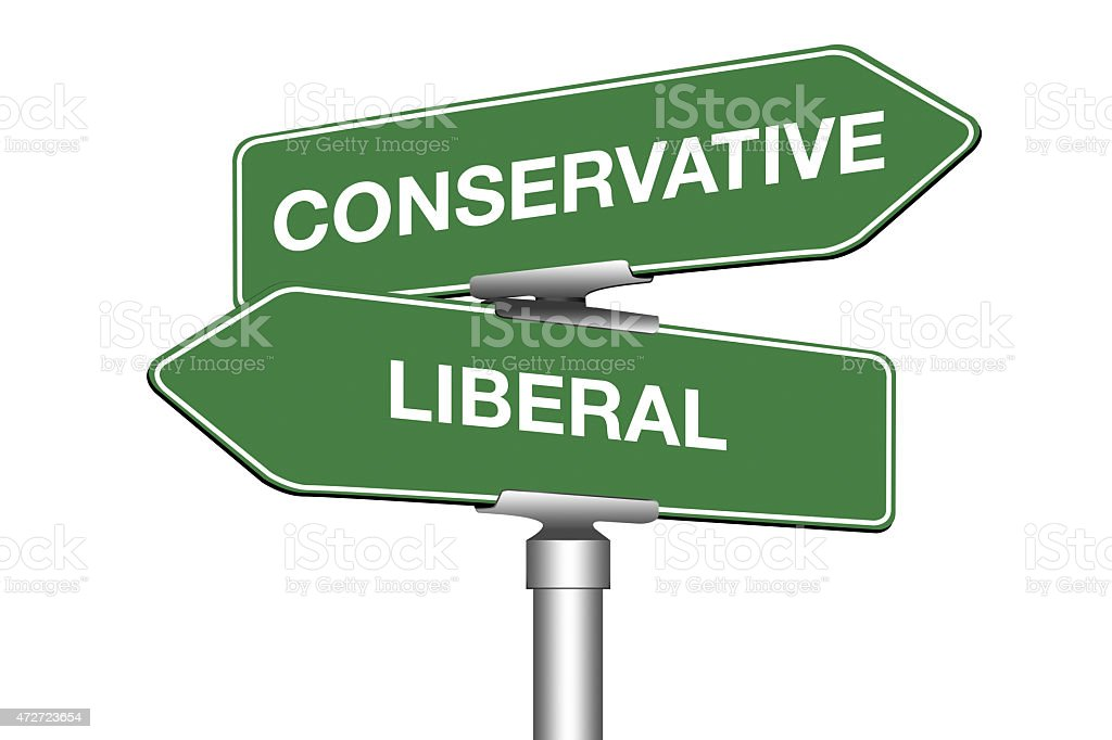 Conservative and Liberal stock photo