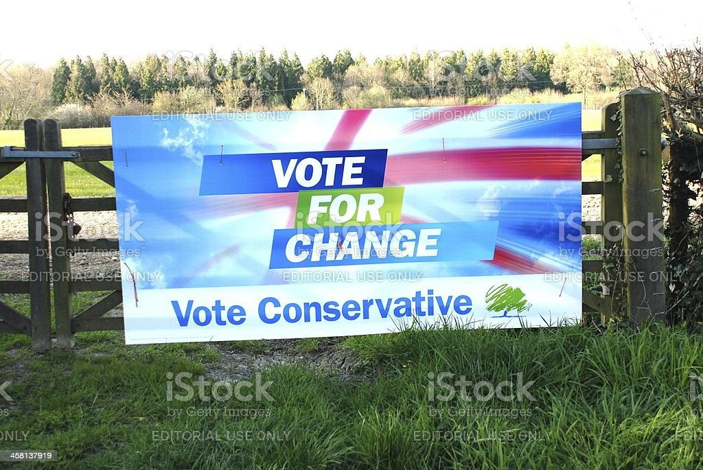 Conservative party election poster, England stock photo