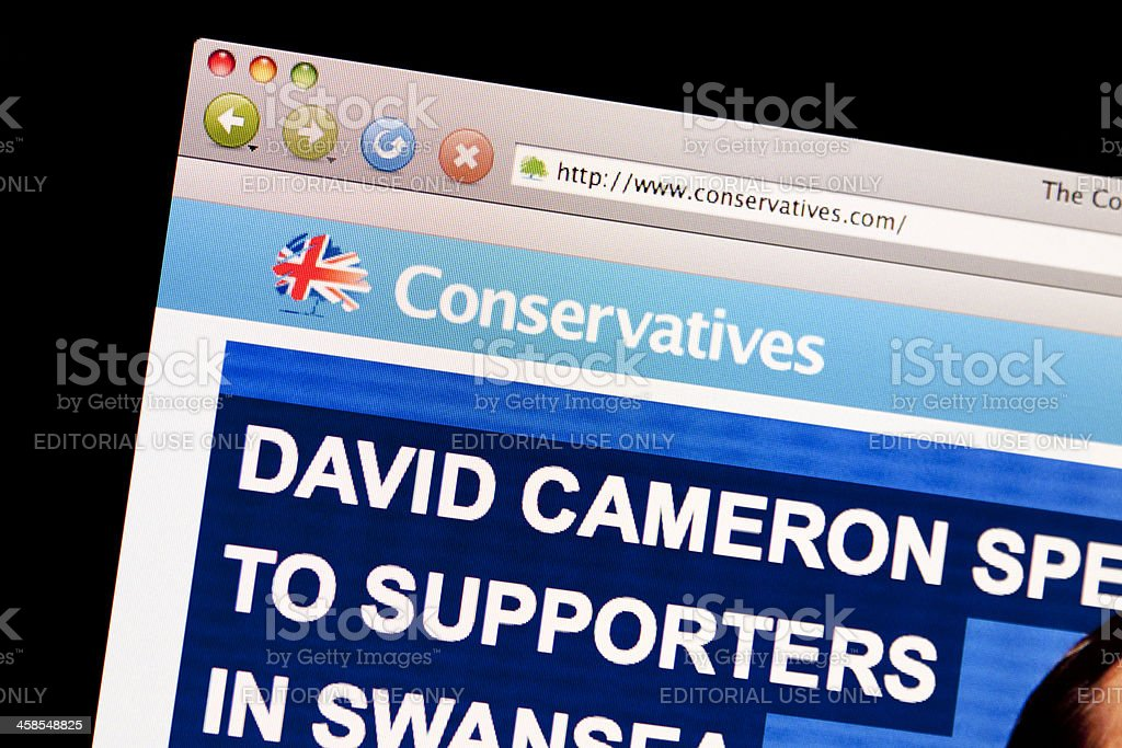 Conservative Party Website. stock photo