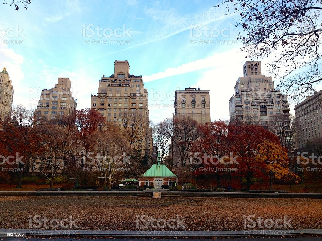 Conservatory Water during the fall in Central Park royalty-free stock photo