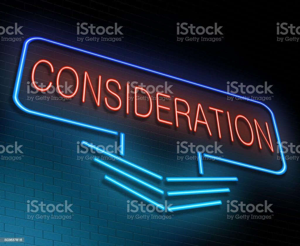 Consideration concept. stock photo