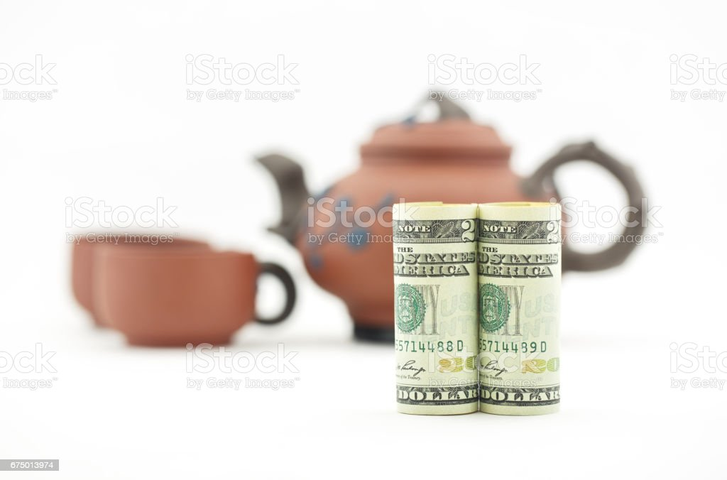 Considered financial decision takes time for tea stock photo