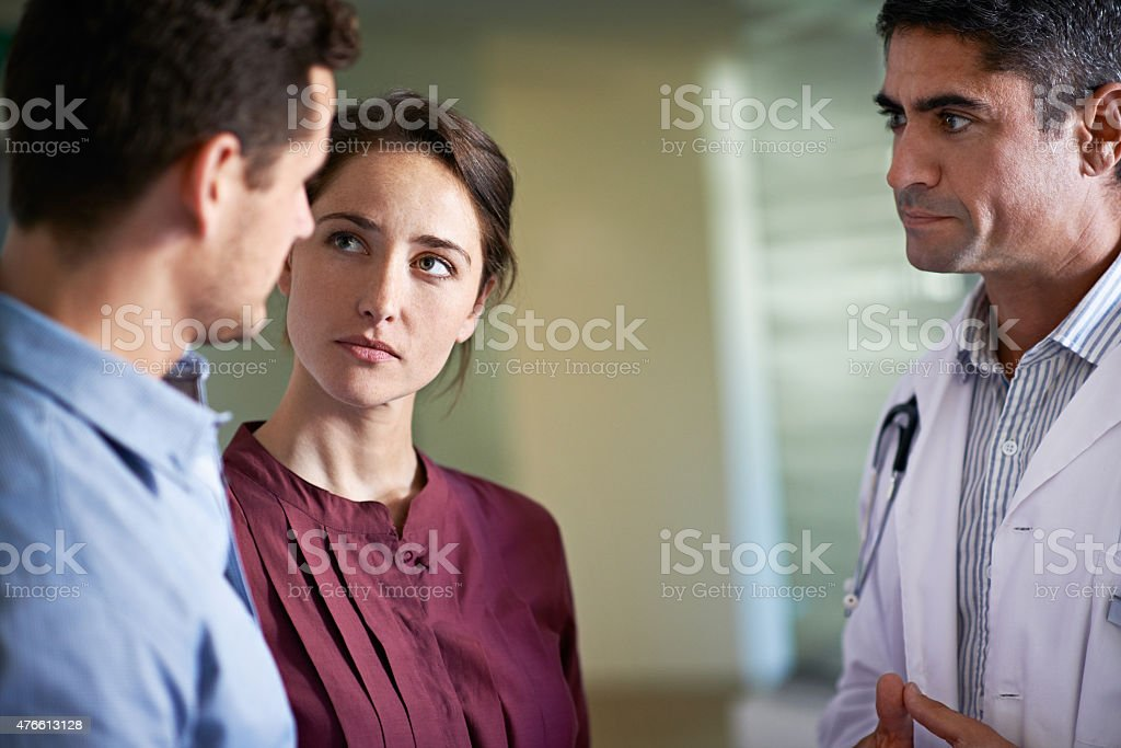 Considering all their medical options stock photo