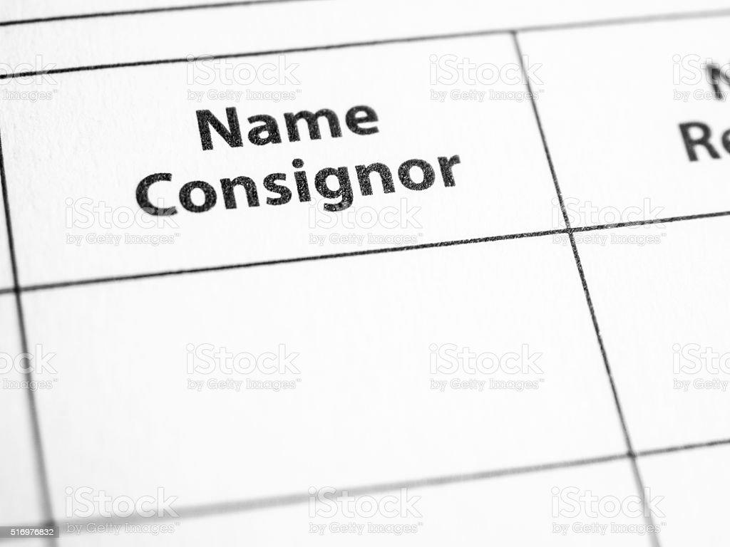Consignor stock photo