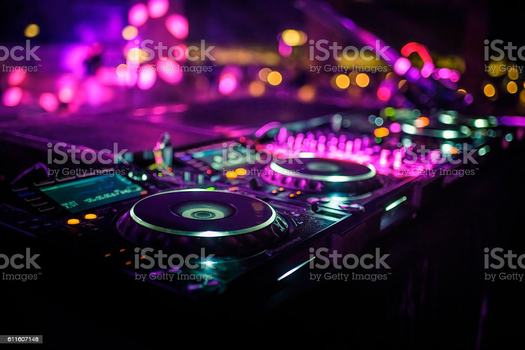 DJ console desk at nightclub stock photo