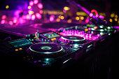 DJ console desk at nightclub
