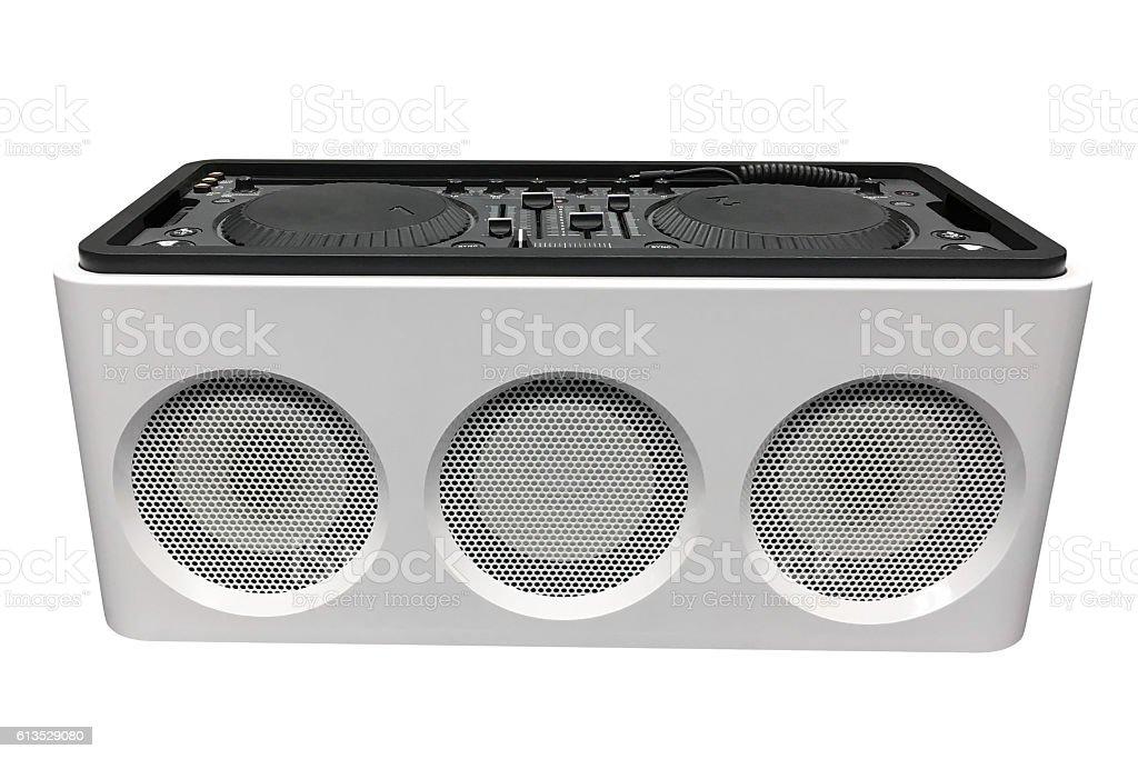 DJ console isolated on white background stock photo