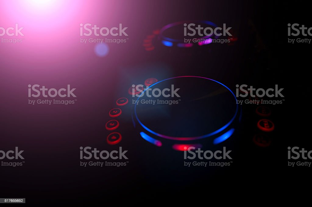 DJ console music party in nightclub stock photo