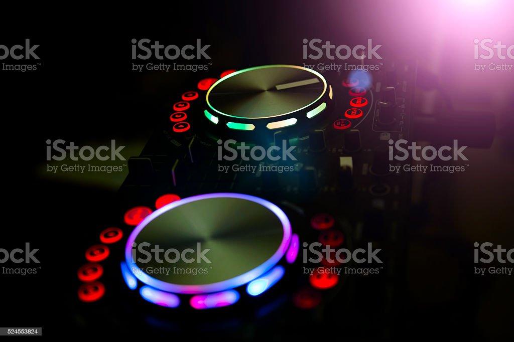 DJ console music party in nightclub stock photo